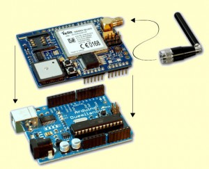 Arduino Shield GSM GPS 300x243 Arduino with GSM GPRS GPS Shield