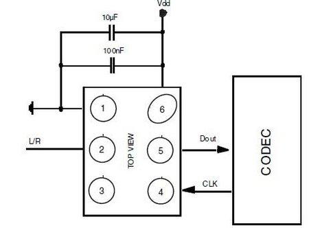 MP45TD01 digital microphone schematic diagram