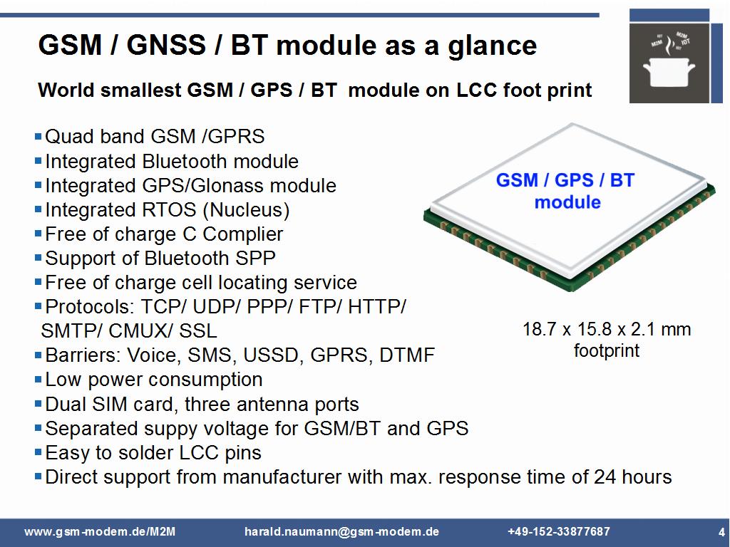 GSM GPS Bluetooth module as a glance