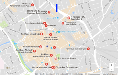 Smart Parking – Parking garages in Hanover. The blue line is showing the place of the old TV tower called Telemoritz.