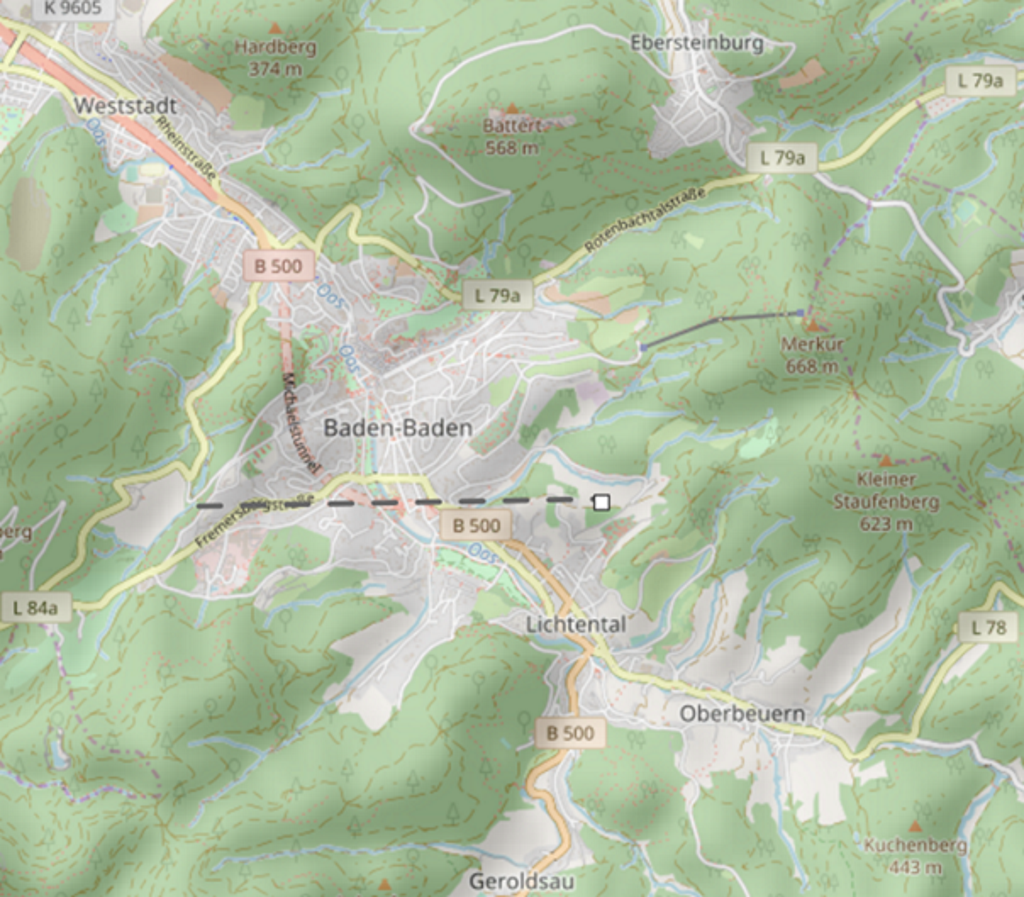 3D terrain of Baden-Baden, Germany on Openstreetmaps
