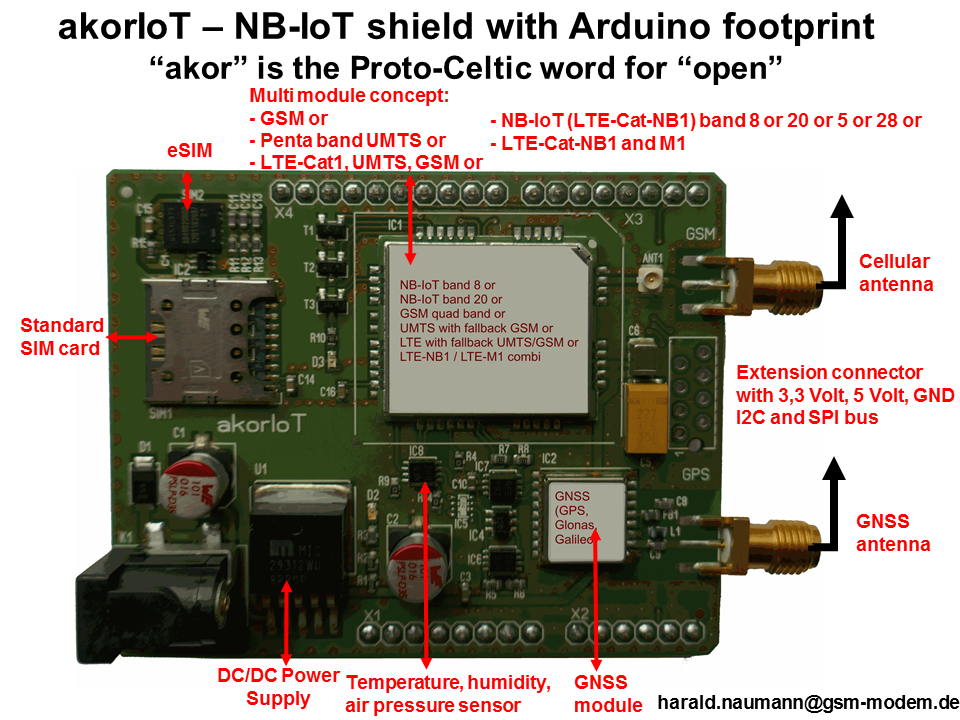 NB-IoT shield with Arduino header remamed to akorIoT